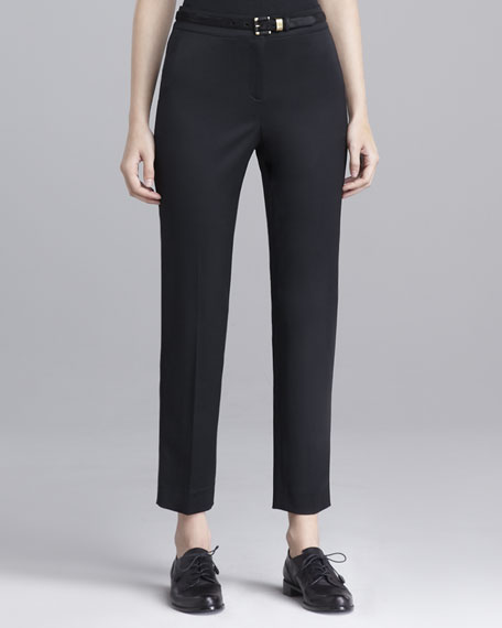 Emma Stretch-Wool Pants, Caviar