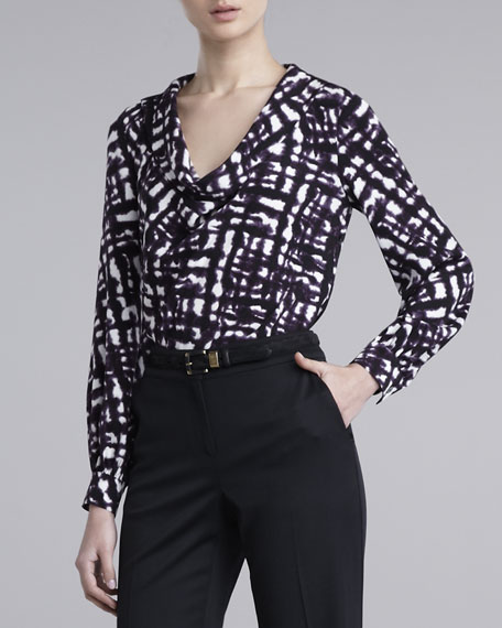 Graphic Tweed-Print Stretch Blouse