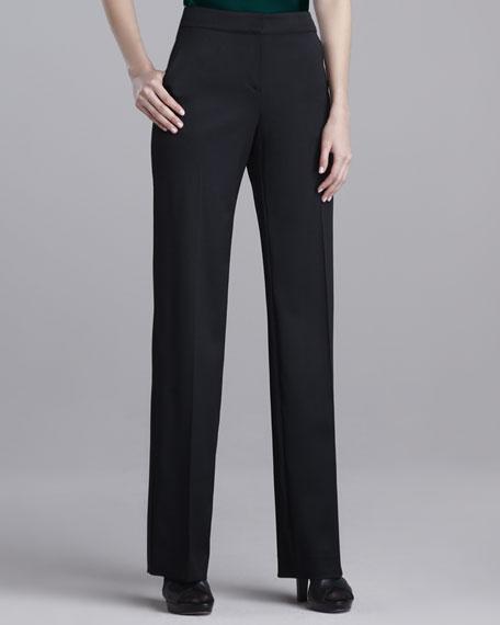 Shelley Stretch-Wool Pants, Caviar