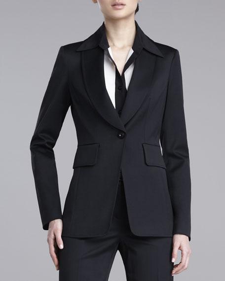 Stretch-Wool Shawl-Collar Jacket