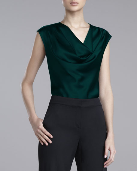 Liquid-Satin Cowl-Neck Blouse