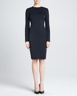 St. John Collection Long-Sleeve Fitted Milano Knit Dress, Caviar