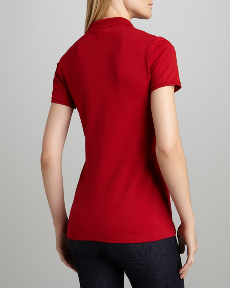 Basic Check-Placket Polo, Red