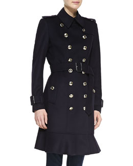 Burberry London Ruffle-Hem Wool-Cashmere Trenchcoat