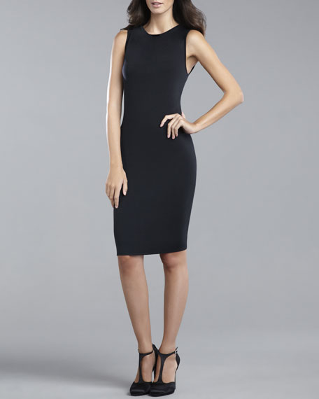 Milano Knit Sleeveless Dress, Caviar