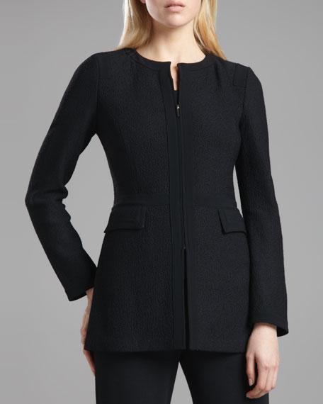 Marocain-Trim Boucle Jacket, Caviar