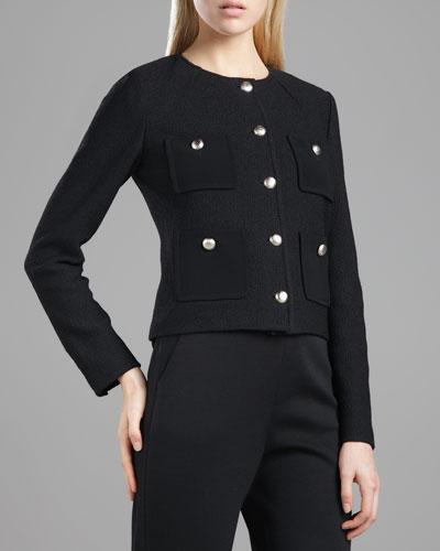 St. John Collection Marocain-Pocketed Boucle Jacket, Caviar