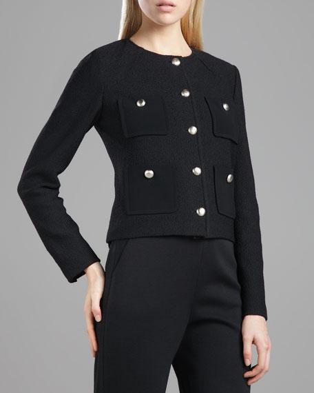 Marocain-Pocketed Boucle Jacket, Caviar