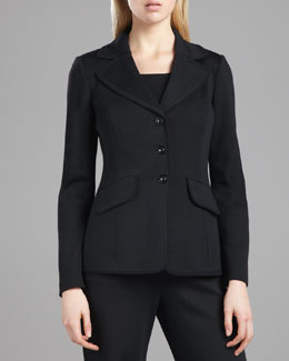 St. John Collection Marocain-Trim Milano Jacket, Caviar