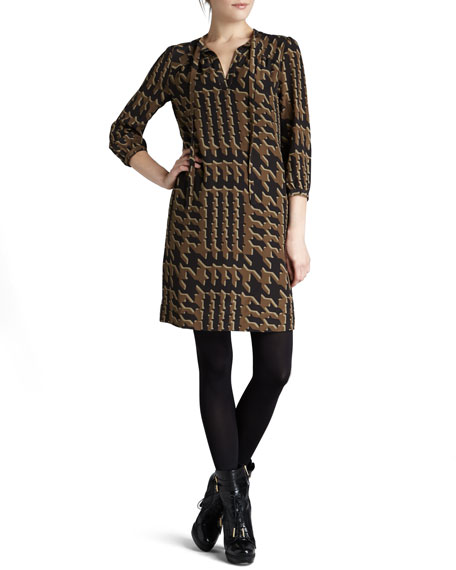 Tweed-Print Silk Dress