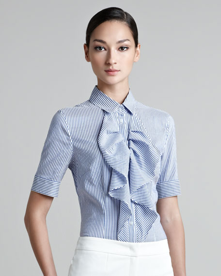 Short Sleeve Ruffle-Front Blouse