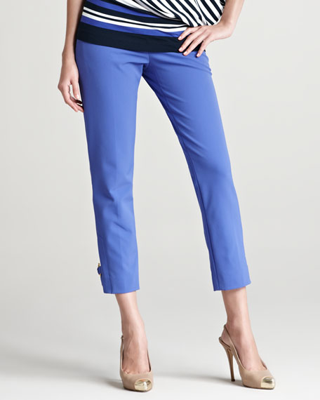Techno Ankle Pants with Buckles, Periwinkle