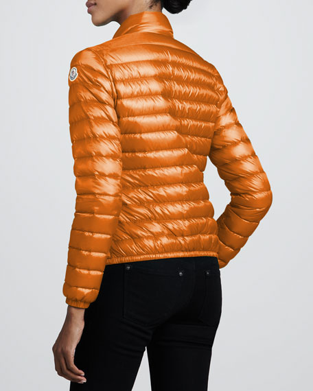 Short Lightweight Puffer Jacket, Orange