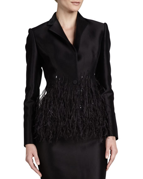 Carolina Herrera Twill Sequin-Collar Blazer