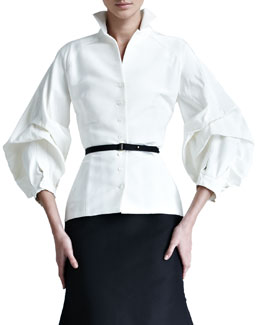 Carolina Herrera Silk Faille Blouse