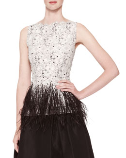 Carolina Herrera Sleeveless Lace Blouse with Feather Trim
