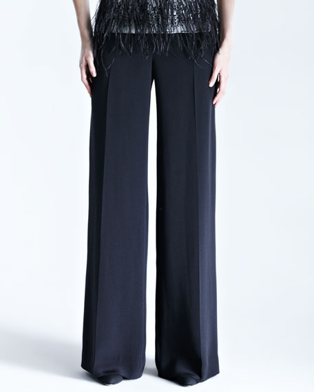 Carolina Herrera Silk Crepe Wide-Leg Trousers