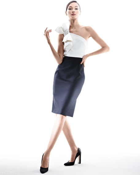 Faille Cocktail Dress with Bow