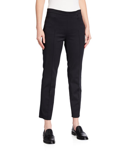 Akris punto Franca High-Waist Cropped Pants, Black