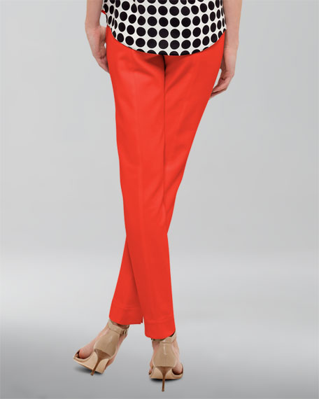Franca High-Waist Cropped Pants, Tomate