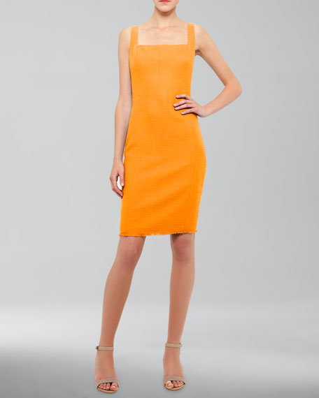 Square-Neck Tweed Dress, Mandarin