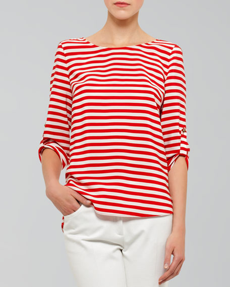 Tab-Sleeve Striped Tee
