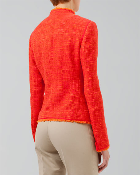 Fringe-Trimmed Tweed Jacket, Tomate