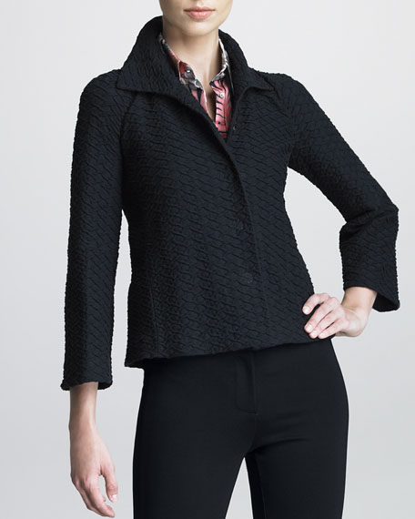 Honeycomb-Textured Swing Jacket