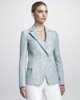 Armani Collezioni Double-Breasted Tweed Jacket
