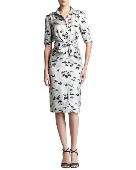 Rabbit-Print Twill Shirtdress