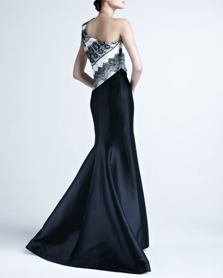 One-Shoulder Gown with Striped Bodice