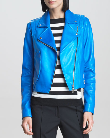 Leather Motorcycle Jacket, Blue