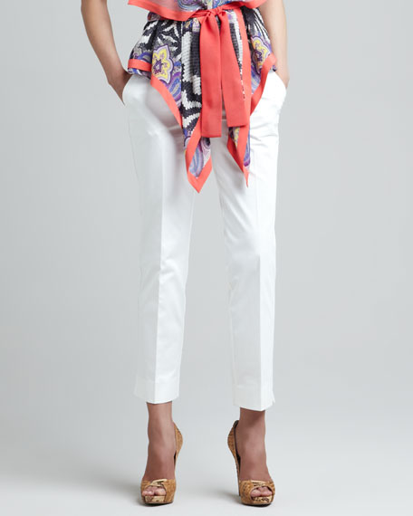 Slim Straight Ankle Pants, Off White
