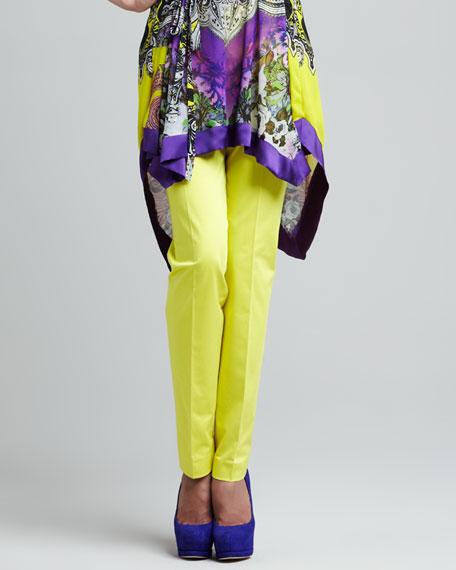 Slim Straight Ankle Pants, Yellow