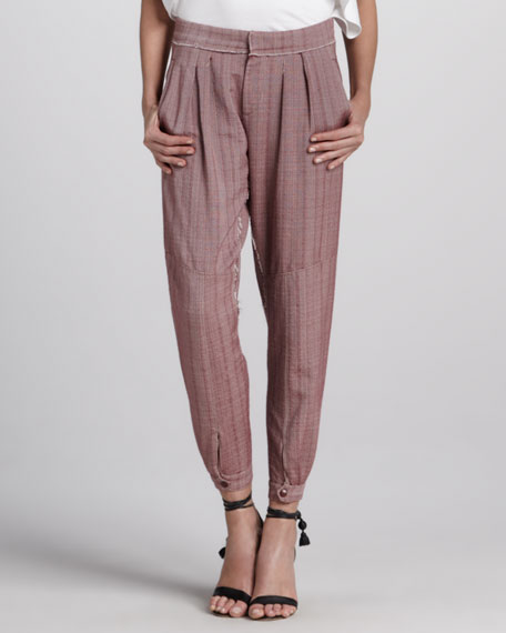 Pleated Pants with Ankle Snaps