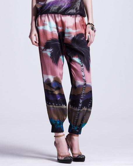 Tropical-Print Elastic-Cuffed Pants
