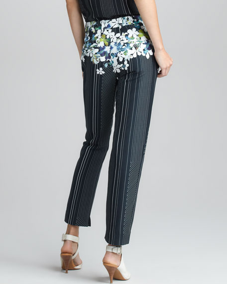 Floral/Stripe-Print Cropped Trousers