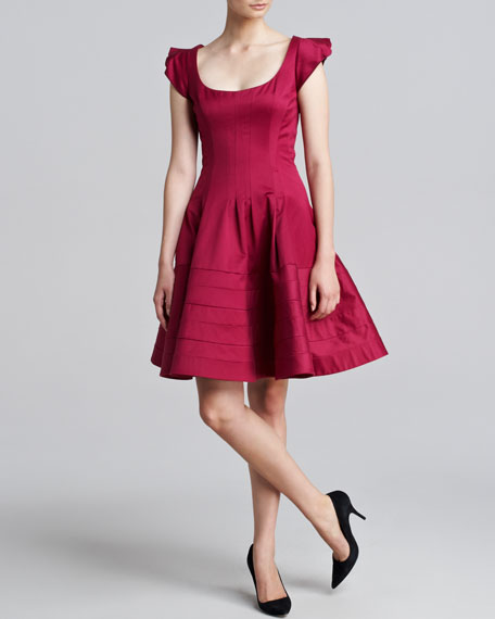Cap-Sleeve Flounce Dress