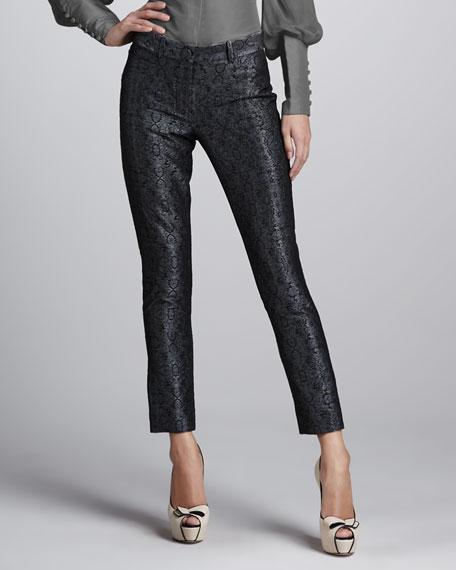 Metallic Brocade Skinny Pants