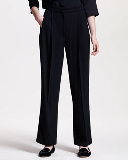 THE ROW Wide-Leg Pleated-Front Pants