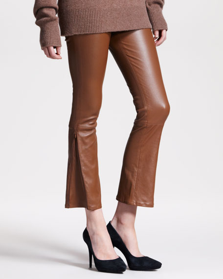 Flared Leather Leggings