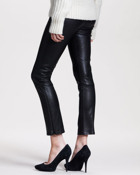 Ankle-Zip Leather Leggings