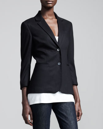 Stretch-Wool Summer Blazer, Black