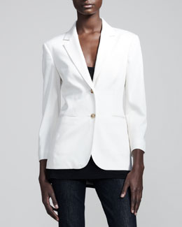 THE ROW Stretch-Wool Summer Blazer, Ivory