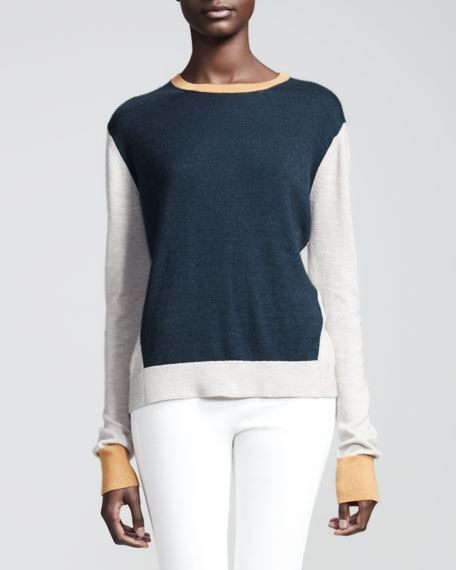 Colorblock Cashmere/Silk Pullover