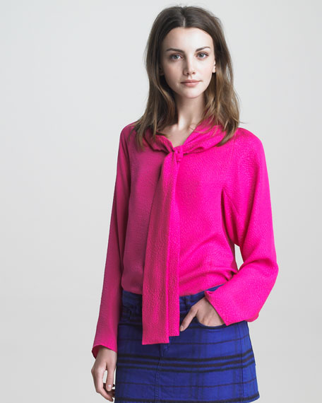 Long-Sleeve Blouse with Tie