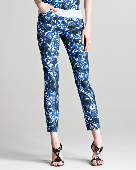 Esmeralda Floral-Print Stretch Trousers