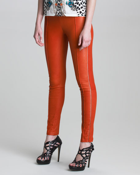 Stitched Leather Leggings
