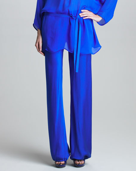 Gathered-Cuff Silk Pants, Ultramarine