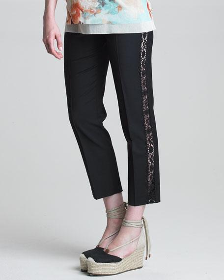 Lace-Striped Slim Pants, Black